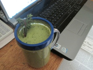 Kale Smoothie, nice after working in the cold winter sun.