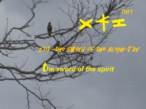 Z'OT The sword in Y'shua-Jesus hand which is the Word of God.