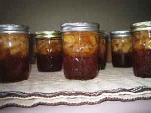 Apple pie jam from our McIntosh, Golden Delicious and Gala Apples. All from our Multi-apple tree.