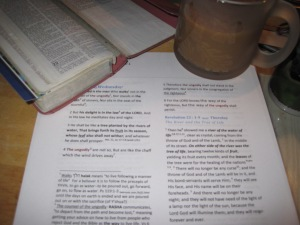 Getting ready for my day at school. Coffee and morning Bible study at the Toy Box Sub-Urban Farm.