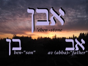 Stone- 'eben; The Hebrew letters aleph-ben make the word 'av - informal for father (abba). Hebrew letters bet-nun sofit is the word ben-son. When father and son are combined then the word becomes