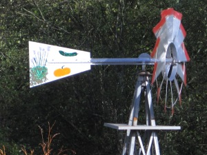 Updated paint job on the windmill at the Toy Box Sub-Urban Farm.