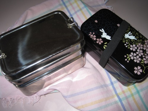 An ECHlunch box and a cute bunny box from Japan.